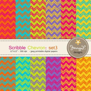 Digital Papers:Scribble Chevron in Bright Colors -SET3