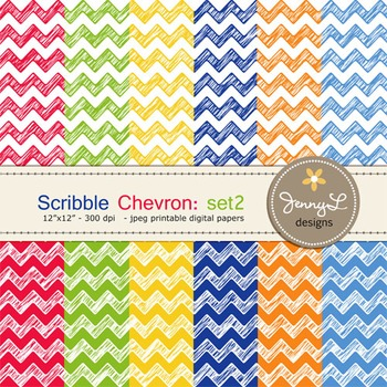 Digital Papers:Scribble Chevron in Primary Colors -SET2