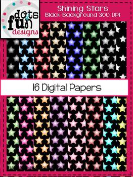 Digital Papers:Shining Stars with Black Background