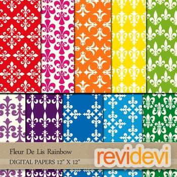 Digital Patterned Papers for Background / Fleur De Lis Rainbow / commercial use