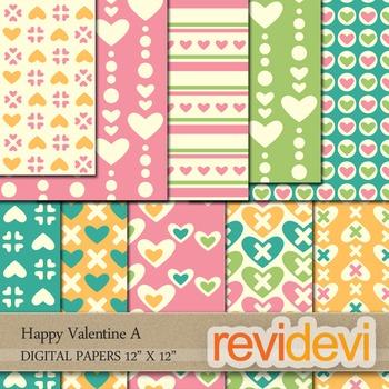 Digital Patterned Papers for Background / Happy Valentine A / commercial use