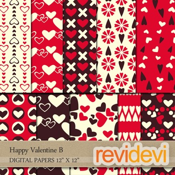 Digital Patterned Papers for Background / Happy Valentine B