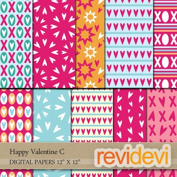 Digital Patterned Papers for Background / Happy Valentine C / commercial use