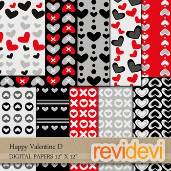 Digital Patterned Papers for Background / Happy Valentine D