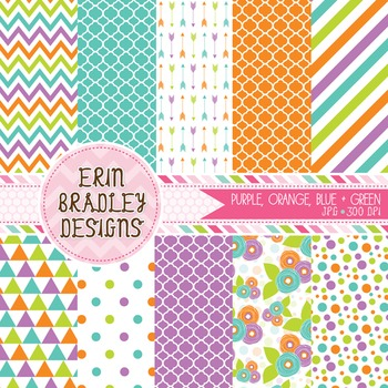 Digital Patterns Purple Blue Orange & Green Paper Bundle