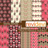 Digital paper Peace Female Monkey (peace signs, hanging monkeys, pink, brown)