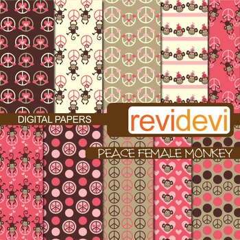 Digital paper Peace Female Monkey (peace signs, hanging mo