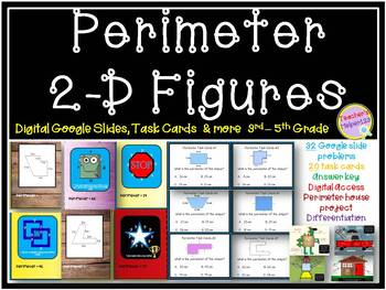 Digital Perimeter Resource | Shapes, Task Cards & Figures | 56 Task Project Prob