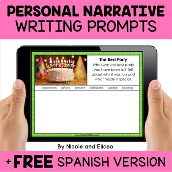 Personal Narrative Writing Prompts for Google Classroom