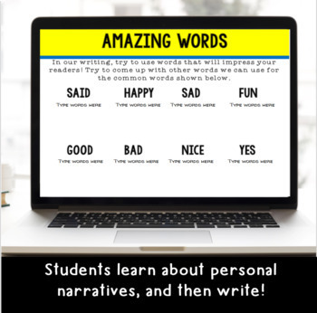 Digital Personal Narrative Writing Prompts for Google Classroom