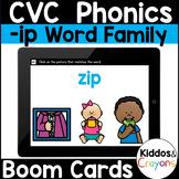 Digital Phonics Activity -ip Word Family Short I CVC Words Boom Cards