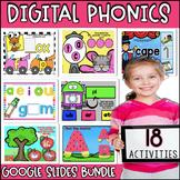Digital Phonics Bundle for Kindergarten with GOOGLE SLIDES