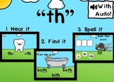 """Digital Phonics Game for Digraph """"th"""" Boom Cards™"""