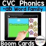 Digital Phonics -ab Word Family Short a CVC Words Boom Cards