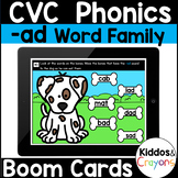 Digital Phonics -ad Word Family Short A CVC Words Boom Cards - Distance Learning