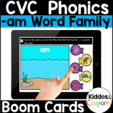 Digital Phonics -am Word Family Short A CVC Words Boom Cards - Distance Learning