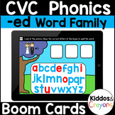 Digital Phonics -ed Word Family Short-e CVC Words Boom Cards