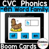 Digital Phonics -en Word Family Short E CVC Words Boom Cards