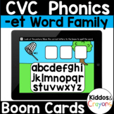 Digital Phonics -et Word Family Short E CVC Words Boom Cards