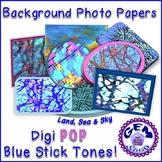 Art: Digital Photo Papers & Backgrounds BLUE Tones, Commer