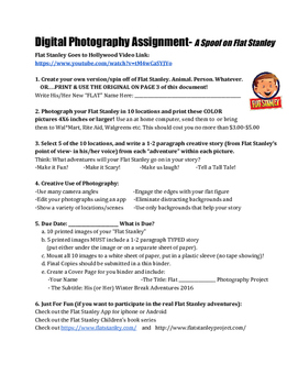 Digital Photography Assignment: A Spoof on Flat Stanley (guaranteed fun!)