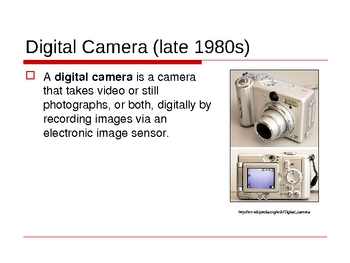 Digital Photography - History of a Camera