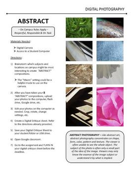 Digital Photography Lesson - ABSTRACT - Directions & Samples