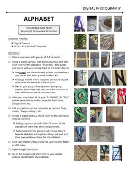 Digital Photography Lesson - ALPHABET - Directions & Samples