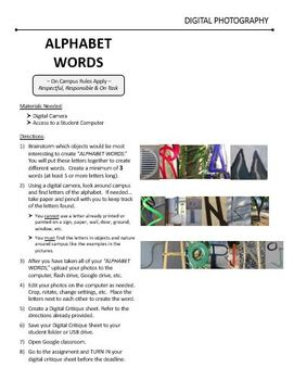 Digital Photography Lesson - ALPHABET WORDS - Directions & Samples