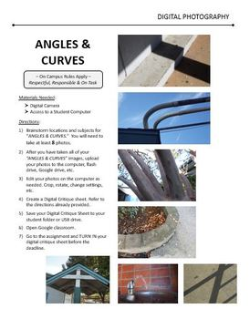 Digital Photography Lesson - ANGLES & CURVES - Directions & Samples