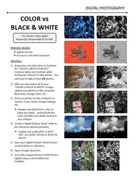 Digital Photography Lesson - COLOR vs BLACK & WHITE - Directions & Samples