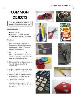 Digital Photography Lesson - COMMON OBJECTS - Directions & Samples