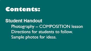 Digital Photography Lesson - COMPOSITION - Directions & Samples