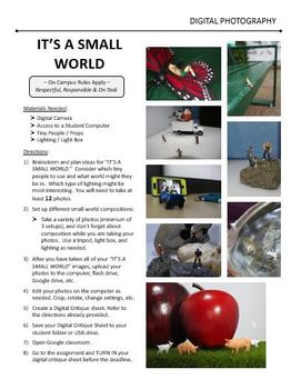 Digital Photography Lesson - IT'S A SMALL WORLD - Directions & Samples