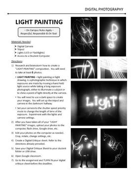 Digital Photography Lesson - LIGHT PAINTING Studio - Directions & Samples