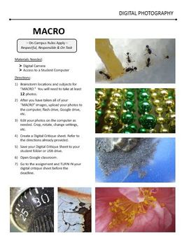 Digital Photography Lesson - MACRO Close Up Images - Directions & Samples
