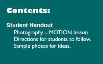 Digital Photography Lesson - MOTION - Directions & Samples
