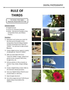 Digital Photography Lesson - RULE OF THIRDS Composition - Directions & Samples