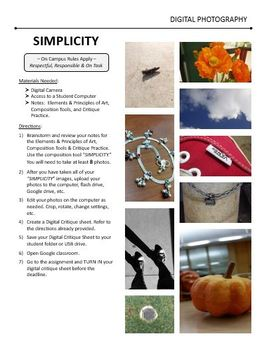 Digital Photography Lesson - SIMPLICITY - Directions & Samples