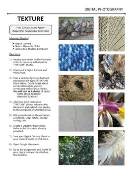 Digital Photography Lesson - TEXTURE - Directions & Samples