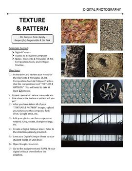 Digital Photography Lesson - TEXTURE & PATTERN - Directions & Samples