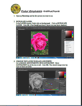 Digital Photography and Art Project- Color Emphasis Series Lesson