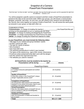 Digital Photography - Snapshot of a Camera Project