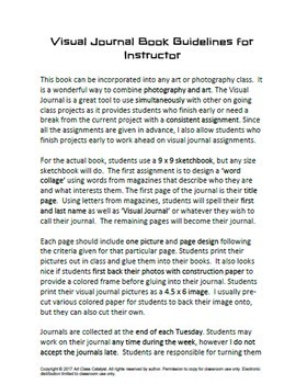 Digital Photography and Art Project- Visual Journal Book (18 weekly assignments)