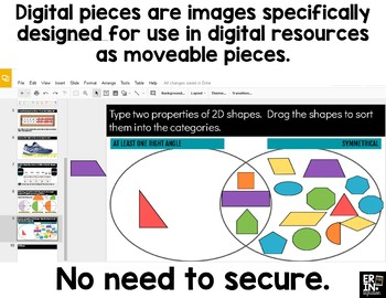 Digital Pieces for Digital Resources: 2 Dimensional Shapes (114 Pieces)