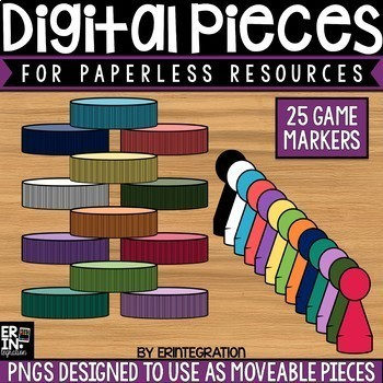 Digital Pieces for Digital Resources: 25 Game Piece Images