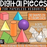 Digital Pieces for Digital Resources: 3 Dimensional Shapes (56 Pieces)