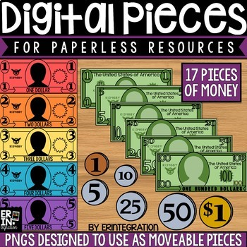 Digital Pieces for Digital Resources: Dollar and Coin Images