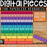 Digital Pieces for Digital Resources: Fraction Bars (36 Pieces)