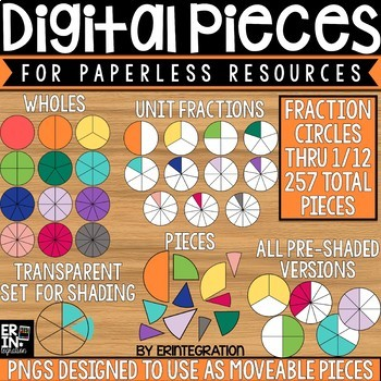 Digital Pieces for Digital Resources: Fraction Circles (257 Pieces)
